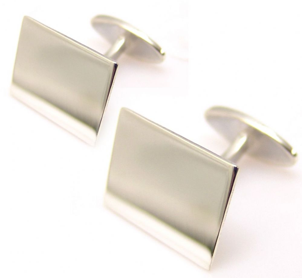 Plain Rectangular PushThrough Cufflinks  925 Sterling Silver